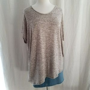 Brown and Tan Heathered Sweater W/Asymmetric Hem